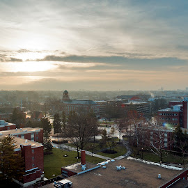 Ohio State University in the Morning by Nick Mateja - City,  Street & Park  Vistas ( columbus, university, ohio, fog, state, sunrise, morning )