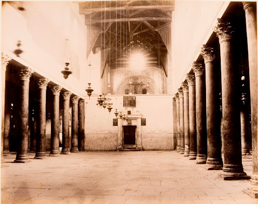 Interior of the large church known as Basilica (Church of the Nativity) in Betlehem