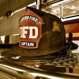 Burned Bravery  by Ericka Schneider - Artistic Objects Clothing & Accessories ( firefighter, ole miss, oxford, captain )