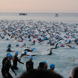 start of the Ironmen by Victor Eliu - People Group/Corporate ( ironmen, 2014, peoples, crowds, nice, france, swimming, people, crowd, humanity, society )