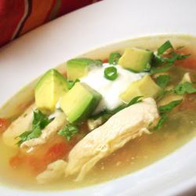 Avocado Soup with Chicken and Lime