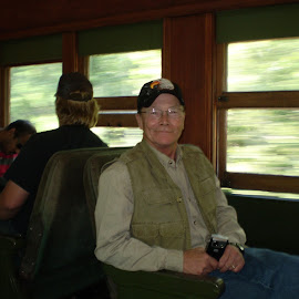 Up the North Shore Line by Ken Plant - Transportation Trains ( ken plant self portrait, train transportation, duluth raillraod, going north on train, locomotive trip,  )