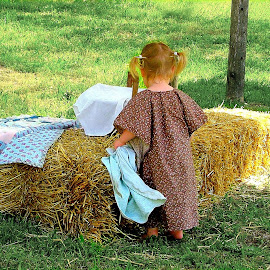 Little Calico Princess and Her Blankie by Julie Dant - Babies & Children Children Candids ( little girls, hay bales, colonial art, summer, pioneers,  )