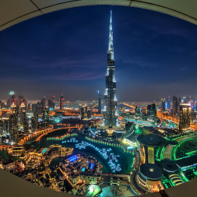 Burj Khalifa by Andrew Madali - City,  Street & Park  Night ( fisheye, dubai, blue hour, night, burj khalifa )