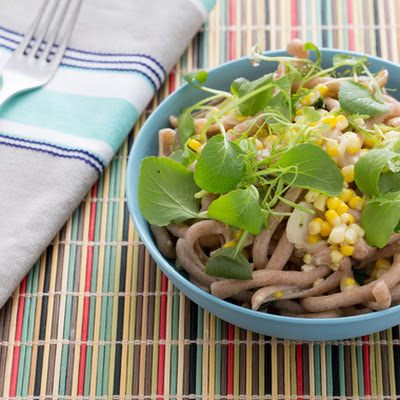 Whole Wheat Gramigna Pasta with Roasted Corn & Baby Greens