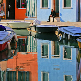 The rest in Burano by Iva Aviana - City,  Street & Park  Historic Districts ( reflection, colorful, street, burano, venice, man rest, italy, city )