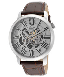 Rotary Men's Automatic Silver Skeletonize Dial Brown Genuine Leather
