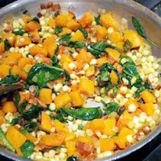 Corn and Winter Squash with Spinach and Bacon