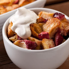 Strawberry Bread Pudding with Crème Fraîche Whipped Cream Recipe