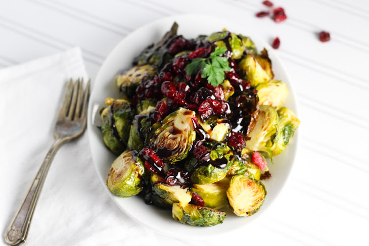Roasted Brussels Sprouts with Cranberries and Balsamic Reduction ...
