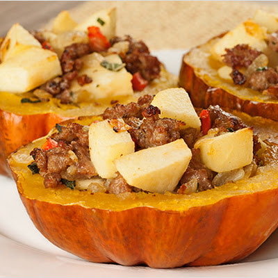 Sausage, Sage and Apple-Stuffed Acorn Squash