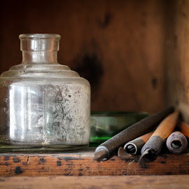 by Tricia Bartkey - Novices Only Objects & Still Life ( pen, still life, writing, antique, ink )