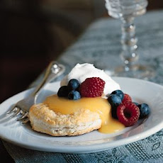 Flaky Biscuits with Lemon Curd, Berries and Cream