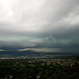 Storm Over Colorado Springs by Laurie Ramsey - Landscapes Weather ( flooding, thunder, lightning, thunderstorm, flood, weather, landscape, landscapes, storm, photography, rain )