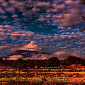 Clouds and volcano by Cristobal Garciaferro Rubio - Landscapes Prairies, Meadows & Fields ( clouds, volcano, popo, popocatepetl, sunrise )