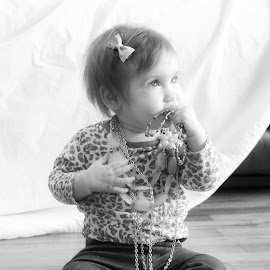 Princess by Shaindy Plumer - Novices Only Portraits & People ( black and white, jeans, baby girl, jewelry, bow, portrait,  )
