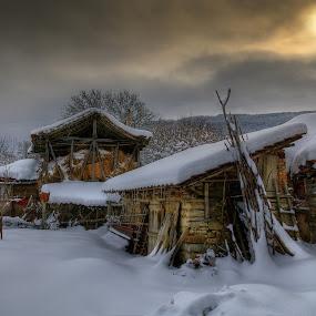 Winter sunrise... by Стефан Стефанов - Landscapes Sunsets & Sunrises ( farm, wooden, winter, cold, family, snow, buildings, sunrise, landscape )