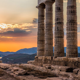 Cape Sounio by Vibeke Friis - Buildings & Architecture Public & Historical ( greek pillars, sunset )