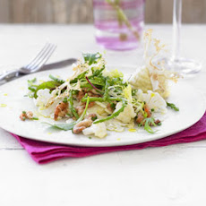 Cauliflower carpaccio with Morecambe Bay shrimps & samphire