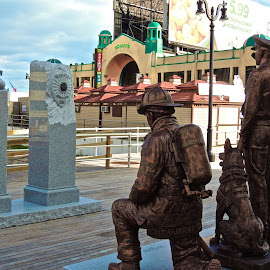 In Tribute by T. Rick Jones - Buildings & Architecture Statues & Monuments ( statues, atlantic city, firemen, dog, policemen )