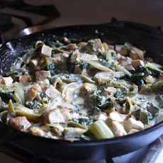 Creamy Chicken and Greens with Roasted Poblano and Caramelized Onion