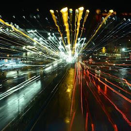 Diversion Road by Night by Sue Cuachon-Facultad - Digital Art Places