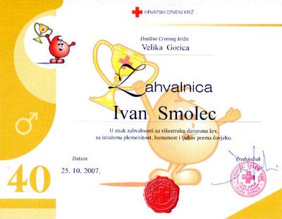 Zahvalnica za 40 darivanja krvi