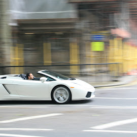 Speeed by Mario Horvat - Transportation Automobiles ( car, car with driver, london, speed, sports car, white car )