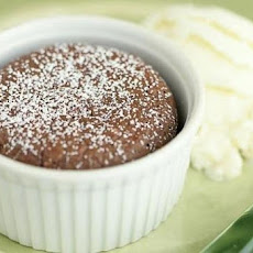 Warm Milk Chocolate Souffles with Vanilla Ice Cream