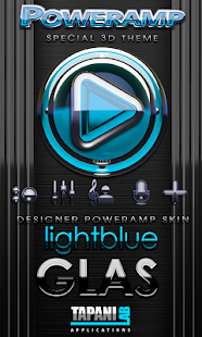 Poweramp skin Light Blue Glas Screenshot