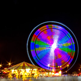 VIBGYOR by Prasanna Kumar - City,  Street & Park  Amusement Parks ( light trail, dubai, colour lights, uae, global village, long exposure )