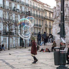 What Am I Thinking by Jay Gould - People Street & Candids ( color, street, bubbles, lisbon, portugal )