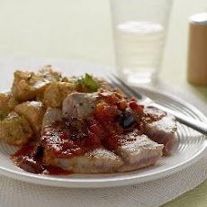 Pan-fried Tuna Steak With Warm Potato Salad, Tomato And Herb Dressing