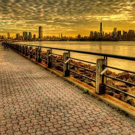 Liberty State Park (3) by Gary Aidekman - City,  Street & Park  City Parks ( manhattan skyline, skyline, liberty tower, walkway, nyc, sunrise )