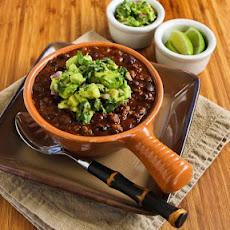 Black Bean and Beef Chili with Cilantro, Lime, and Avocado Salsa