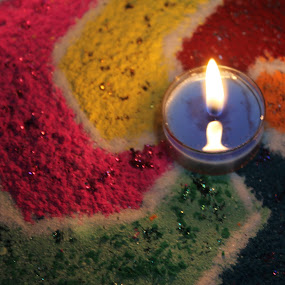 Rangoli highlighted by a lamp! by Srivenkata Subramanian - Artistic Objects Signs ( diwali, color, festival, india, rangoli, , colorful, mood factory, vibrant, happiness, January, moods, emotions, inspiration )