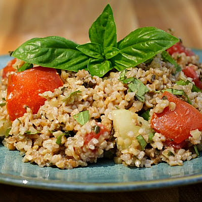 Basil and Bulgar Salad (aka Pesto Tabouli)