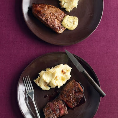Seared Flat-Iron Steaks with Wine Sauce