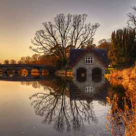 Boat Club Sunset by Mirel Basic - Landscapes Sunsets & Sunrises ( ireland, club, bridge, boat )