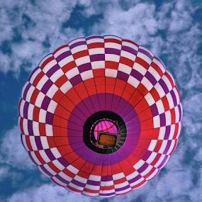 balloon in the sky  by Dejan Gavrilovic - Transportation Other ( balloon in the sky, creativity, lighting, art, artistic, purple, mood factory, lights, color, fun )