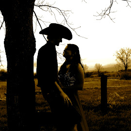 by Stephen Henry - People Couples ( sepia, cowboy, sunset, cowgirl, boots )