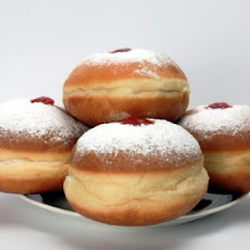 Hanukkah Doughnuts with Strawberry Preserves