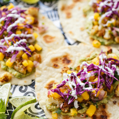 Crispy Cauliflower Tacos with Mango Salsa