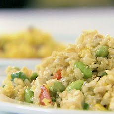 Fried Rice with Scallions, Edamame and Tofu