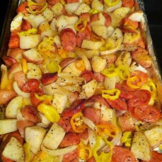 Oven-roasted Sausages, Potatoes, And Peppers