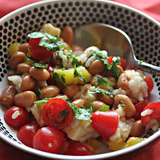 Pinto Bean and Rice Salad With Tomatoes and Cheddar in Banana Pepper-Chili Vinaigrette