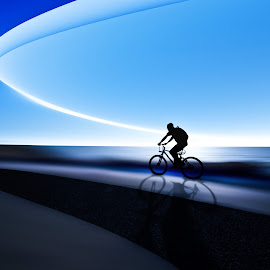 biker by Josh Adamski - Sports & Fitness Cycling ( sky, bike, blue, sea, Bicycle, Sport, Transportation, Cycle, Bike, ResourceMagazine, Outdoors, Exercise, Two Wheels )