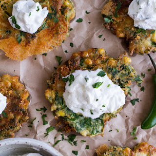 Spinach and Artichoke Corn Fritters with Brie and Sweet Honey Jalapeno Cream.