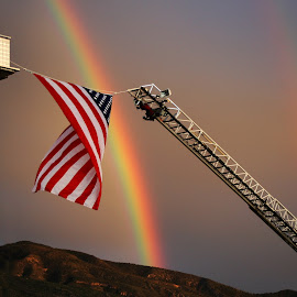9-11 Tribute - flag and rainbows by Brenda Purvis - News & Events US Events ( memorial, flag, partiotic, scenic, rainbow )