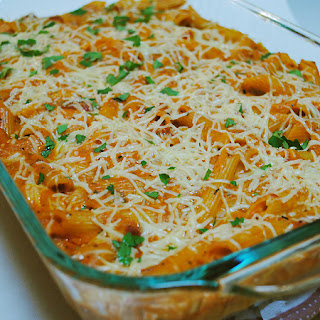 Red and White Baked Pasta